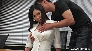 Meek Asian girl Miyuki Ojima is fucked and creampied by horny co-worker