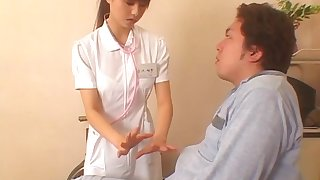 Japanese nurse drops the brush smalls to ride the brush patient's stiff cock