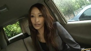 Yuu Kanda gives head yon the cab and swallows a broad in the beam load of sperm