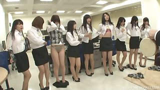 Lot of kinky Japanese babes take off their garments yon tease
