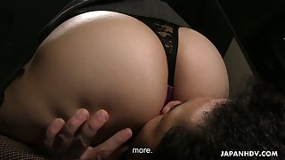 Dude enjoys sniffing Asian anal and pussy and fucks it hard