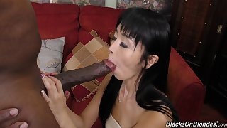 Sweet looking Asian girl nailed by his big black cock