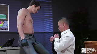 Asian gay business man pounded hard by his well hung client