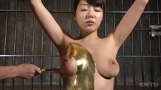 Golden Japanese sex slave loves choking on a fat member