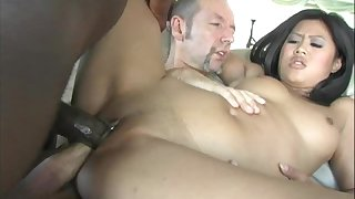 Asian hottie gets rammed by a black dude and his white pal