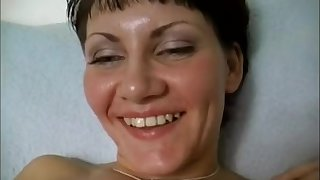 Naughty mam MILF filling shaved pussy with fat dildo close concerning