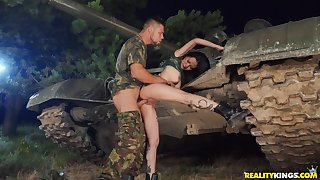 Asian beauty tries solider's huge dick be useful to a rough play