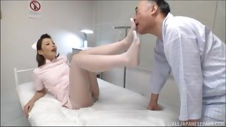 Japanese nurse gets fucked by hard patient's dick in the hospital