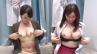 Hardcore group pussy fuck in the air couple of Japanese babes