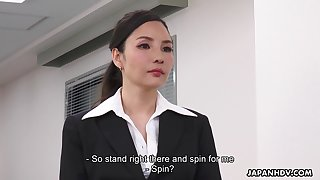 Asian lady becomes office property check up on having sexual congress with her employer