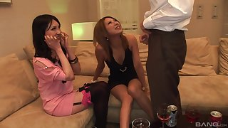 POV video of a lucky guy possessions a double blowjob by Japanese babes