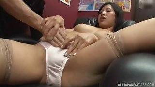 Quickie fucking in the office upon a Japanese secretary in miniskirt